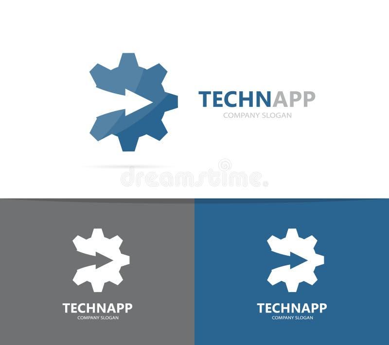 Vector del engranaje y de la flecha encima de la combinación del logotipo Mecánico y símbolo o icono del crecimiento Fábrica únic stock de ilustración