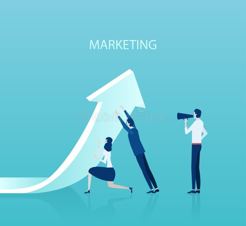 Vector del equipo del negocio que levanta encima de una flecha que es manejada por un líder stock de ilustración