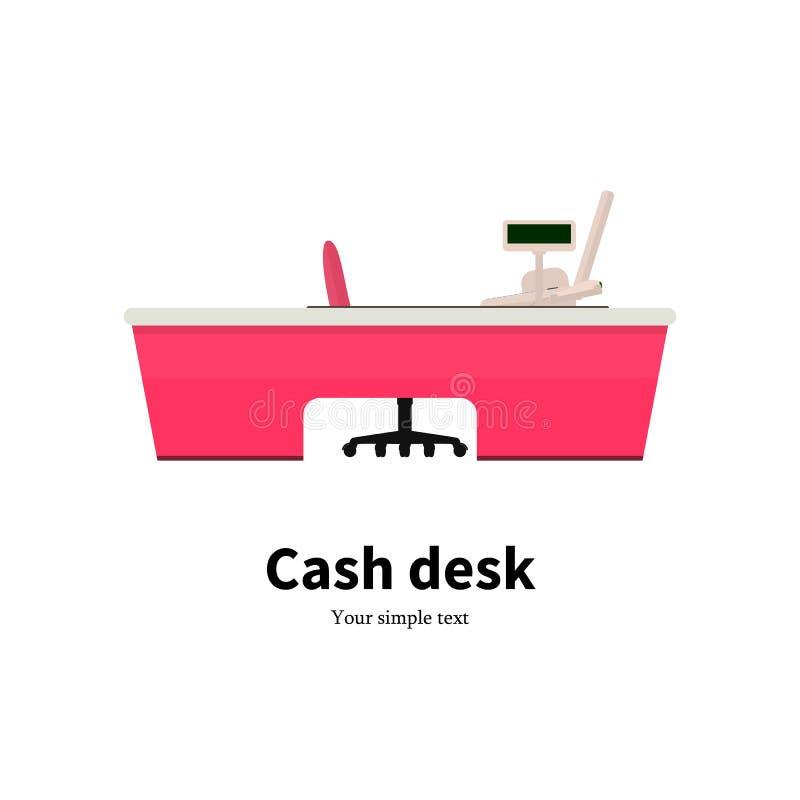 Vector del escritorio de efectivo coloreado en un supermercado stock de ilustración