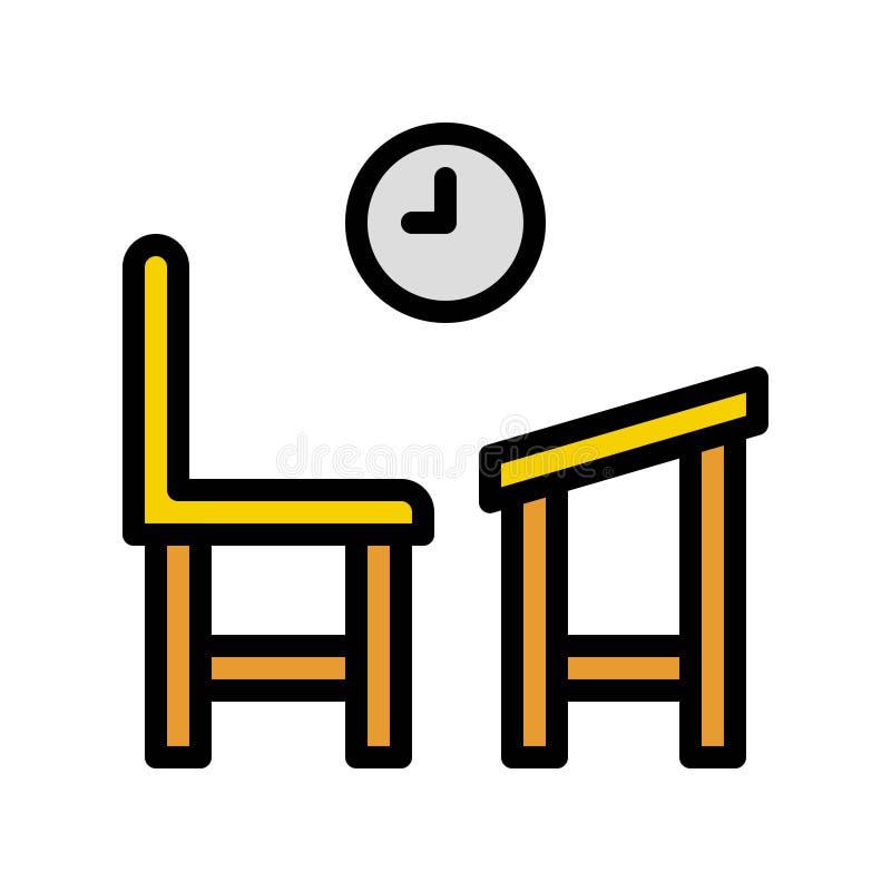 Vector del escritorio y de la silla de la escuela, de nuevo a icono llenado escuela del estilo stock de ilustración