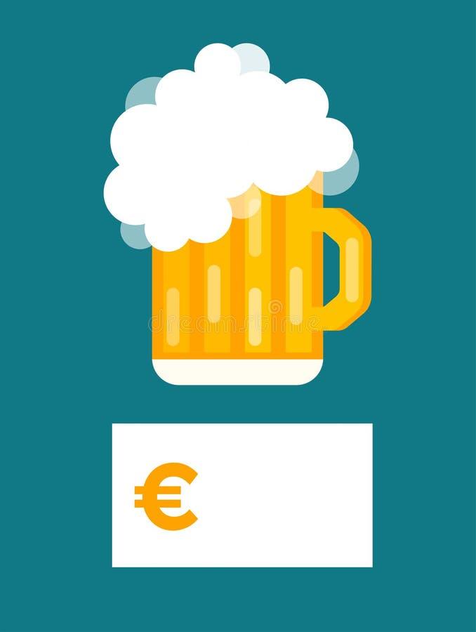 Vector del espacio en blanco del precio de la botella de cerveza ilustración del vector