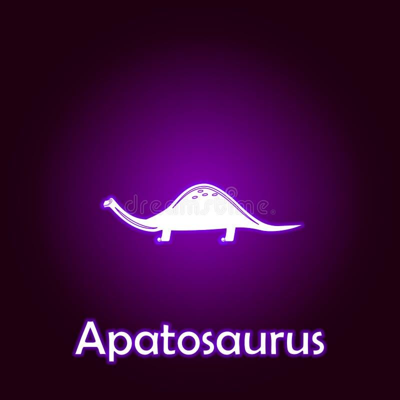 vector del esquema del apatosaurus Elementos del ejemplo de los dinosaurios en el icono de ne?n del estilo Las muestras y los s?m libre illustration