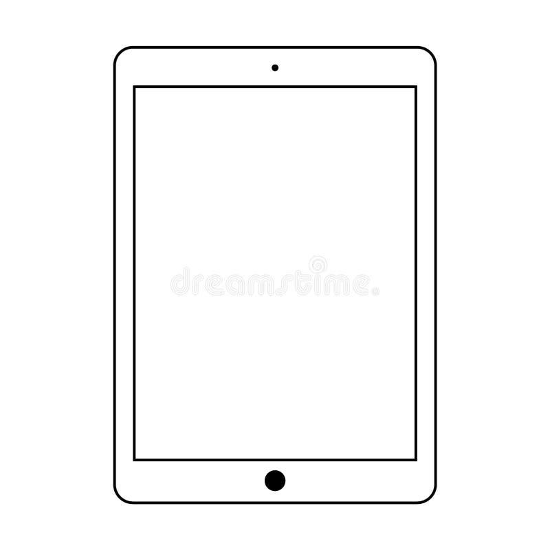 Vector del esquema de la tableta con el botón negro Vector eps10 del icono del esquema de la tableta libre illustration