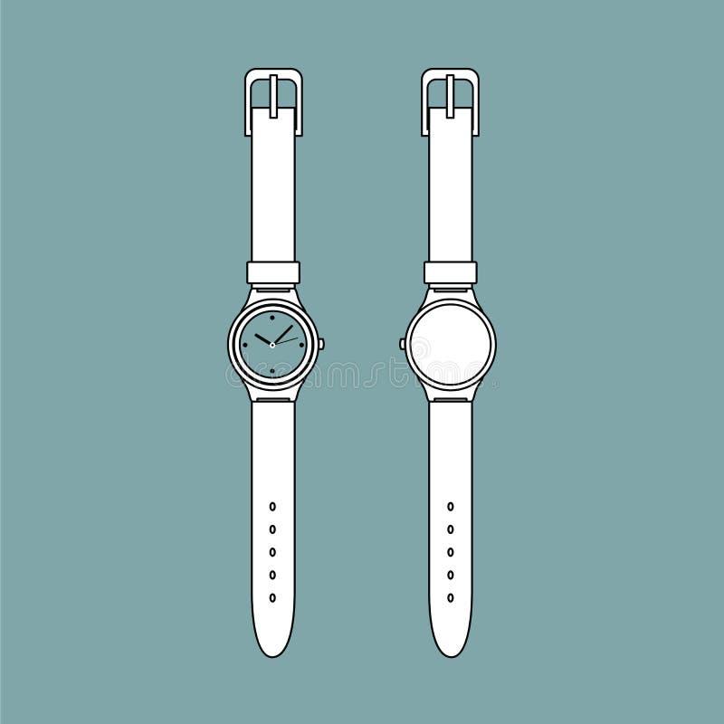 Vector del esquema del reloj del vintage imagen de archivo