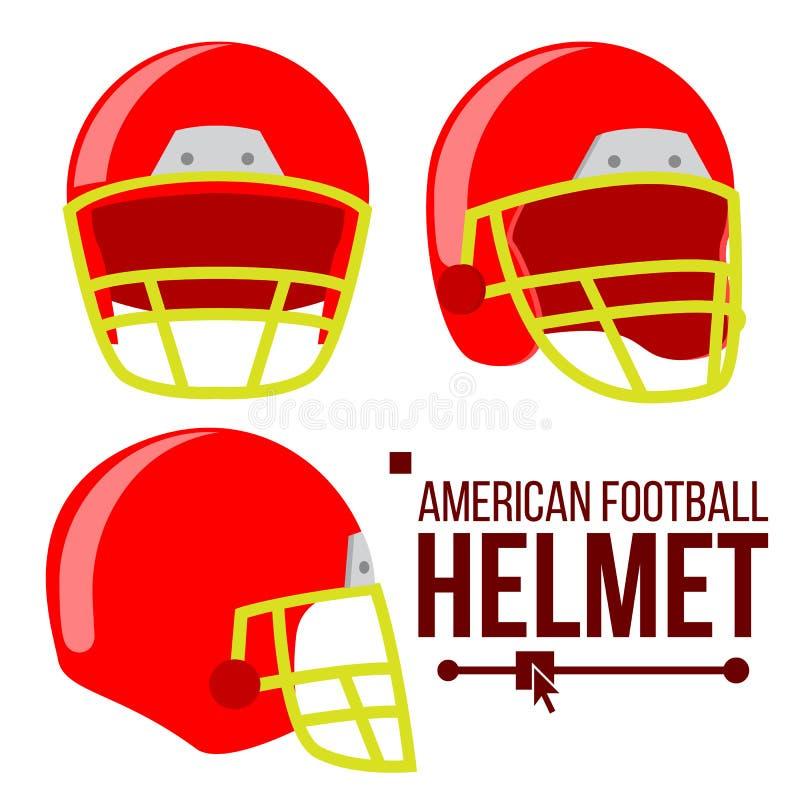 Vector del fútbol americano del casco Timón rojo clásico de la protección de la cabeza del rugbi Equipo de deporte Ejemplo plano  ilustración del vector