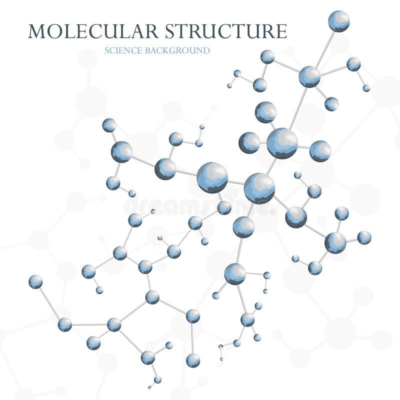Vector del fondo de la estructura molecular Concepto de extracto de la biología o de la química ilustración del vector