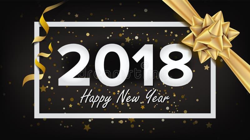 Vector 2018 del fondo de la Feliz Año Nuevo Tarjeta de felicitación de lujo hermosa de la Navidad del día de fiesta Cartel de la  ilustración del vector