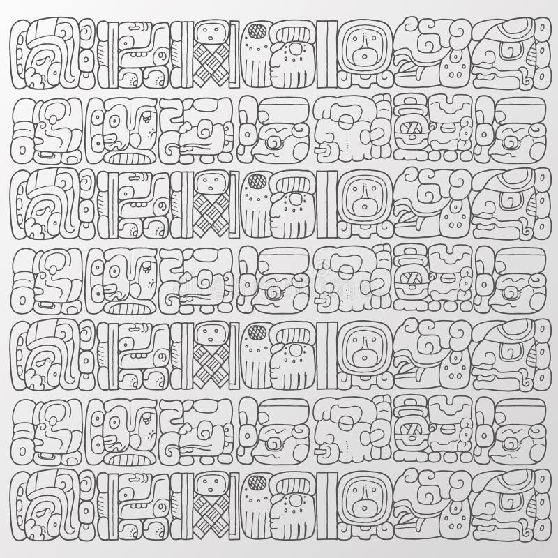 Vector del fondo de los glyphs del maya stock de ilustración