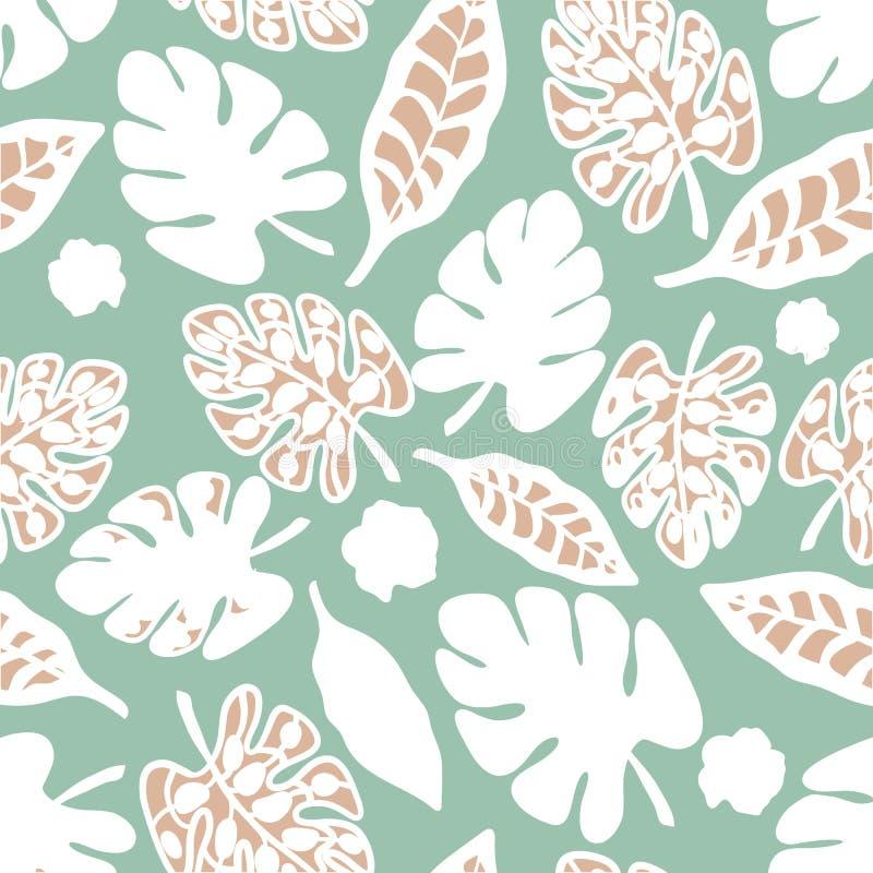 Vector del fondo de Teal Print Tropical Floral Pattern stock de ilustración