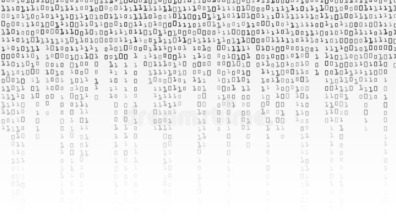 Vector del fondo del código binario Fondo blanco y negro con los dígitos en la pantalla ilustración del vector