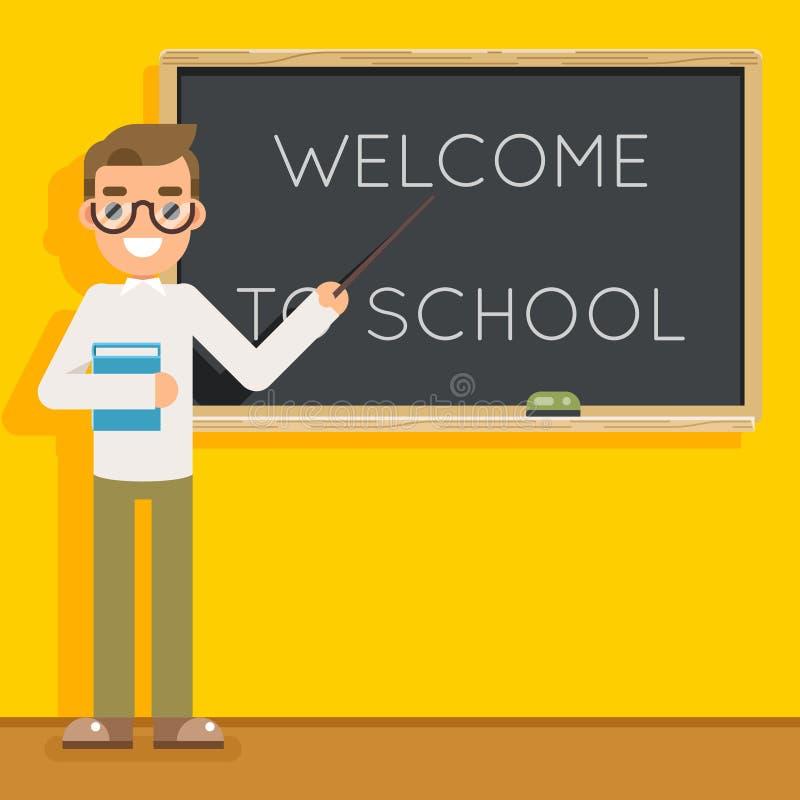 Vector del fondo del consejo escolar de la sala de clase del icono del carácter de la lección de la educación de la clase del est stock de ilustración