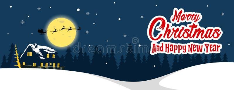 Vector del fondo del diseño de la bandera de la noche de la Navidad con Papá Noel y los ciervos stock de ilustración
