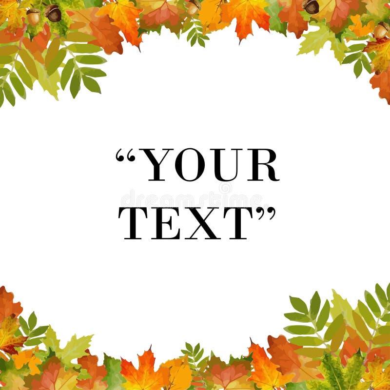 Vector del fondo del otoño con libre de poner el texto estilo del follaje ilustración del vector