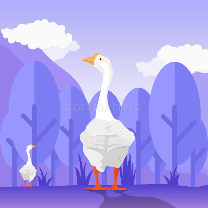 Vector del ganso en la selva para el papel pintado o las plantillas del fondo ilustración del vector