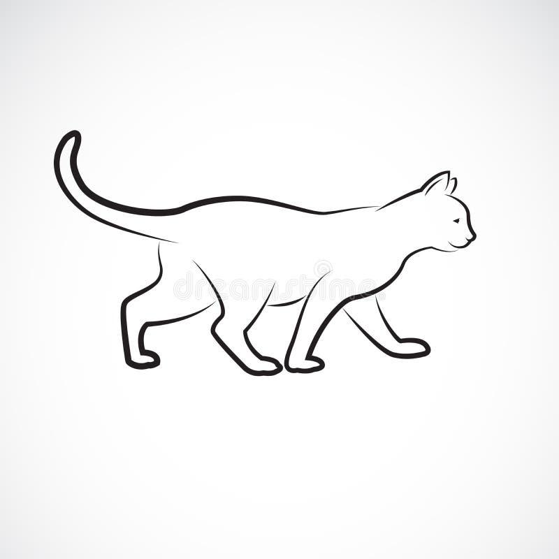 Vector del gato que camina en un fondo blanco pet Animales Logotipo o icono del gato Ejemplo acodado editable f?cil del vector ilustración del vector