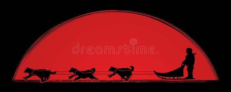 Vector del gráfico de los perros de trineo stock de ilustración