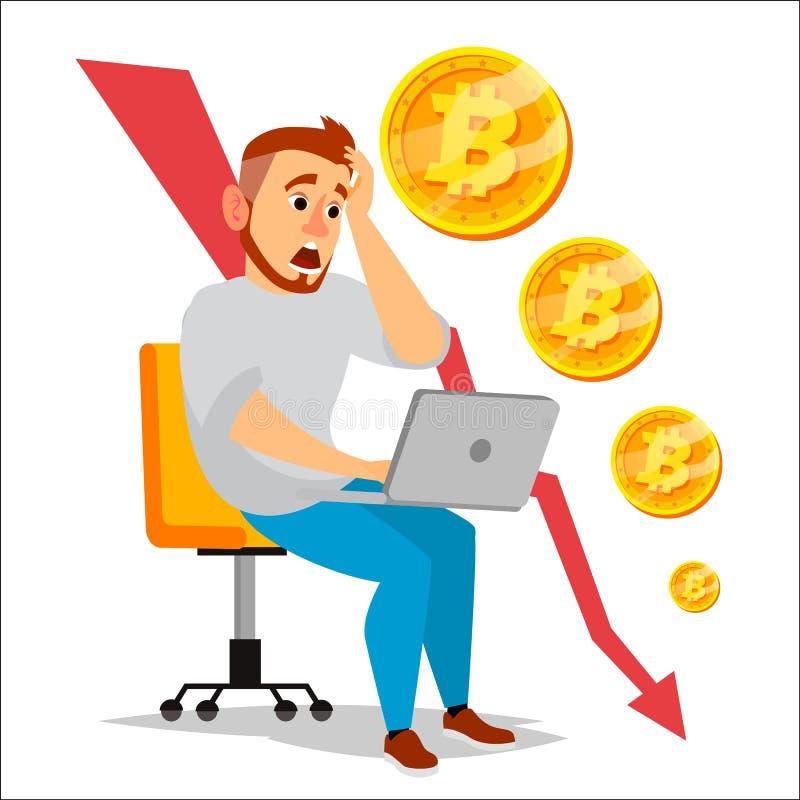 Vector del gráfico del desplome de Bitcoin Caídas de precios de Bitcoin Concepto Crypto del mercado de moneda Inversor u hombre d ilustración del vector