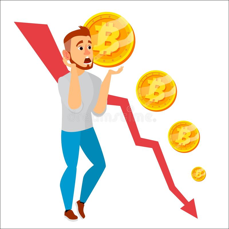 Vector del gráfico del desplome de Bitcoin Caídas de precios de Bitcoin Valor de mercado del precio que va abajo Concepto Crypto  stock de ilustración