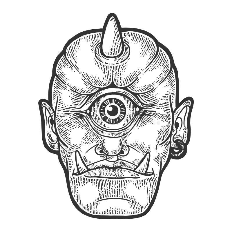 Vector del grabado del bosquejo de la criatura del mito del Cyclop ilustración del vector