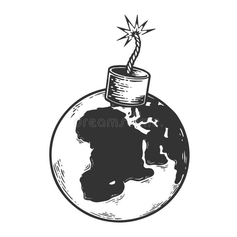 Vector del grabado del bosquejo de la tierra del planeta de la bomba ilustración del vector
