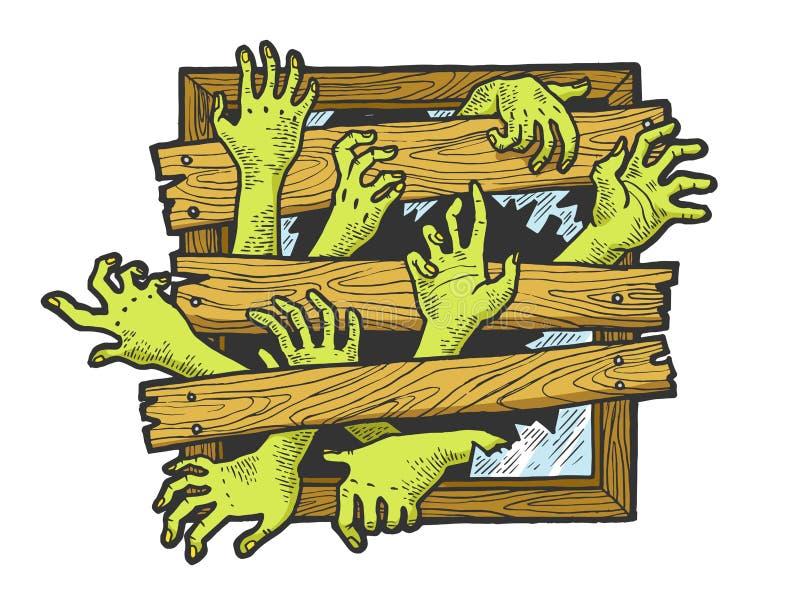 Vector del grabado del bosquejo de la ventana de las manos del zombi stock de ilustración