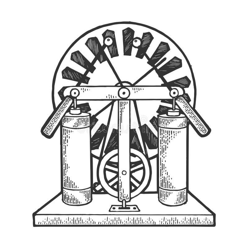 Vector del grabado del bosquejo del generador electrostático libre illustration