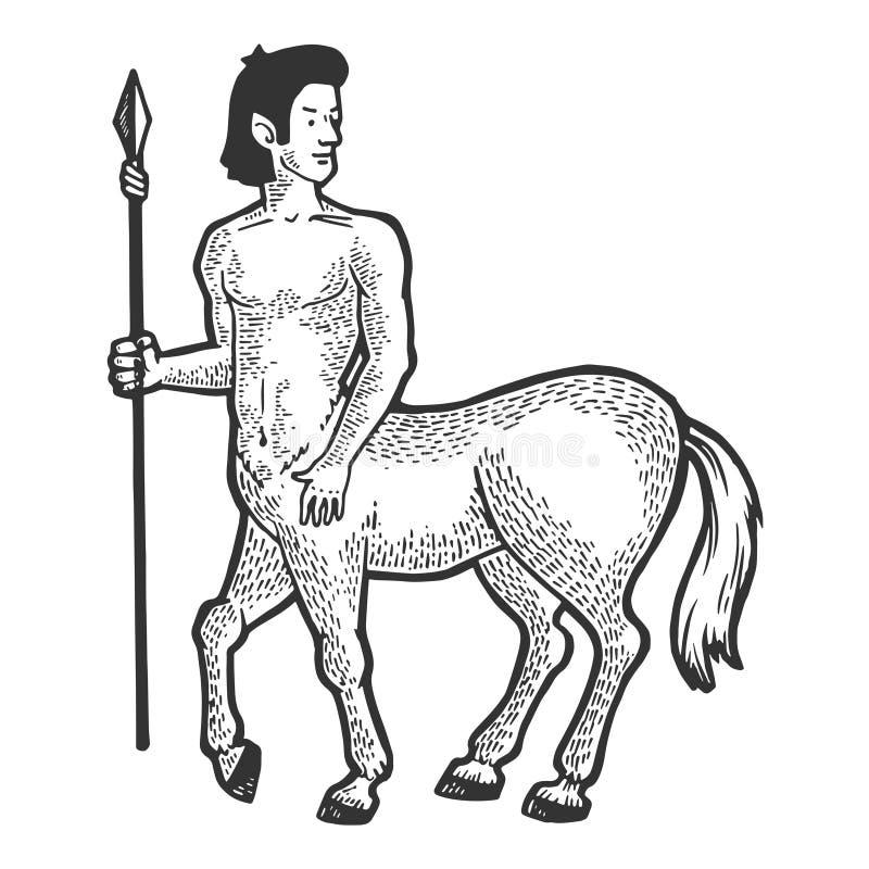 Vector del grabado de la criatura del mito del centauro stock de ilustración