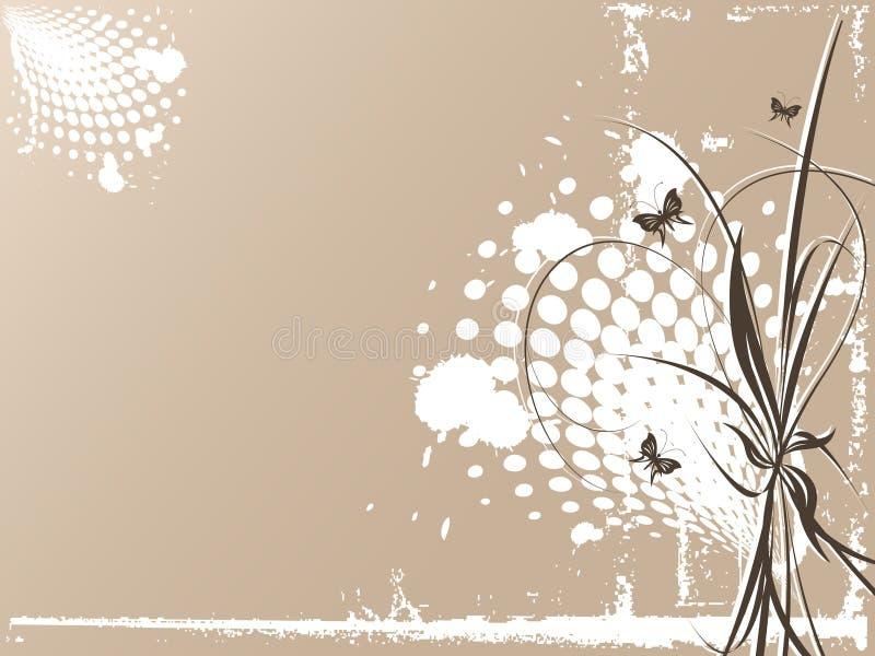 Vector del Grunge con las mariposas imágenes de archivo libres de regalías