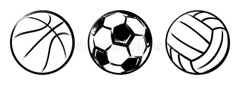 Vector del grunge de las bolas del baloncesto, del fútbol y del voleibol stock de ilustración