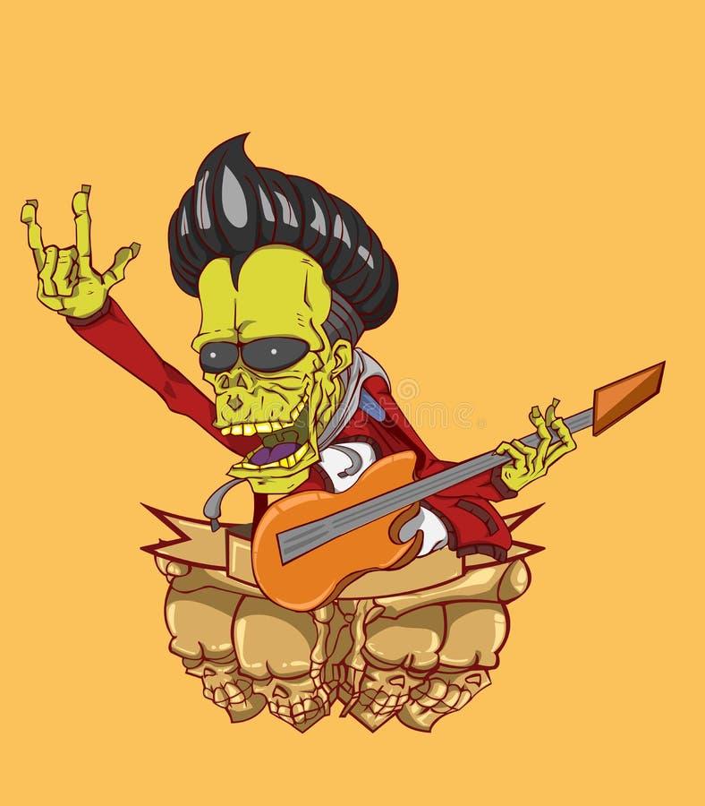 Vector del guitarrista del zombi ilustración del vector