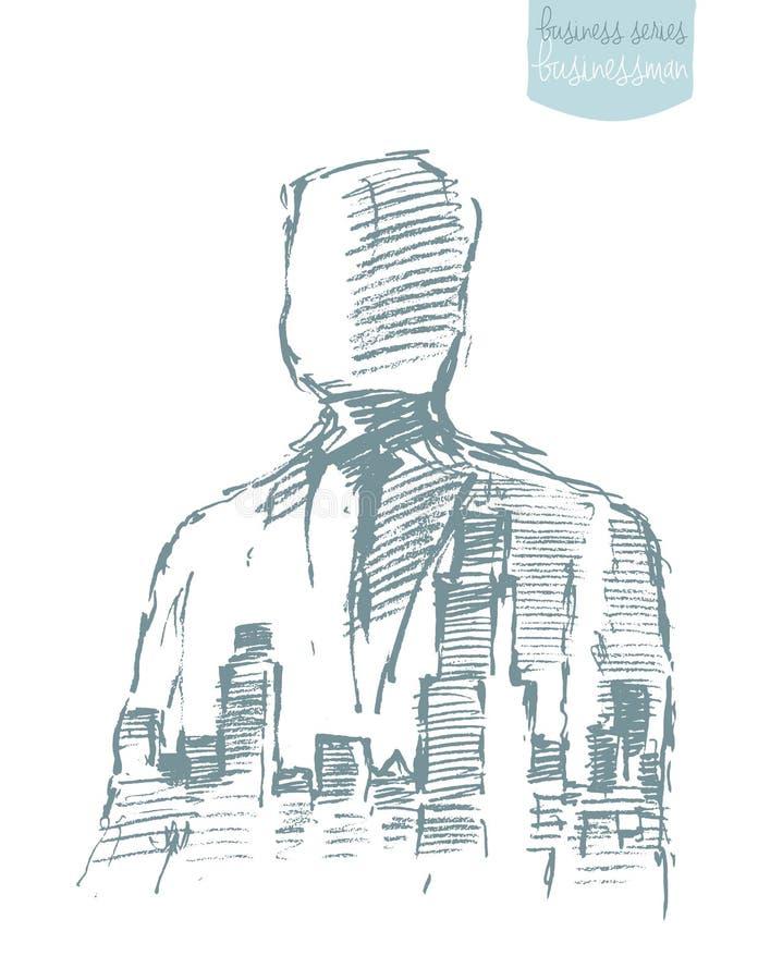 Vector del héroe del ganador de la libertad del hombre de negocios de la ciudad libre illustration