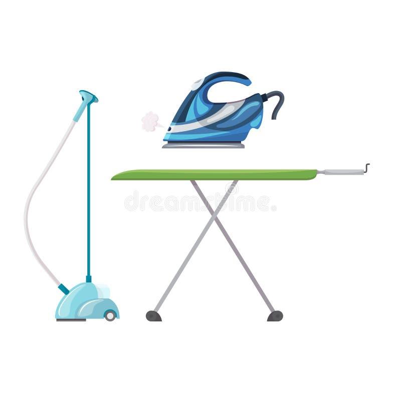Vector del hierro que plancha el vapor eléctrico del aparato electrodoméstico del sistema de la economía doméstica de la ironía d ilustración del vector