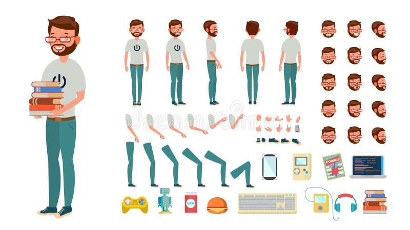 Vector del hombre del friki sistema animado de la creación del carácter Varón del empollón del ordenador Integral, delantero, lad ilustración del vector