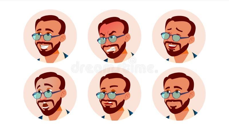 Vector del hombre del icono de Avatar turco Turk Human Emotions Varón anónimo Diversa expresión Diversa cabeza Historieta aislada ilustración del vector