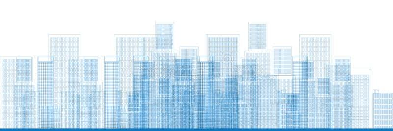 Vector del horizonte de los rascacielos de la ciudad stock de ilustración