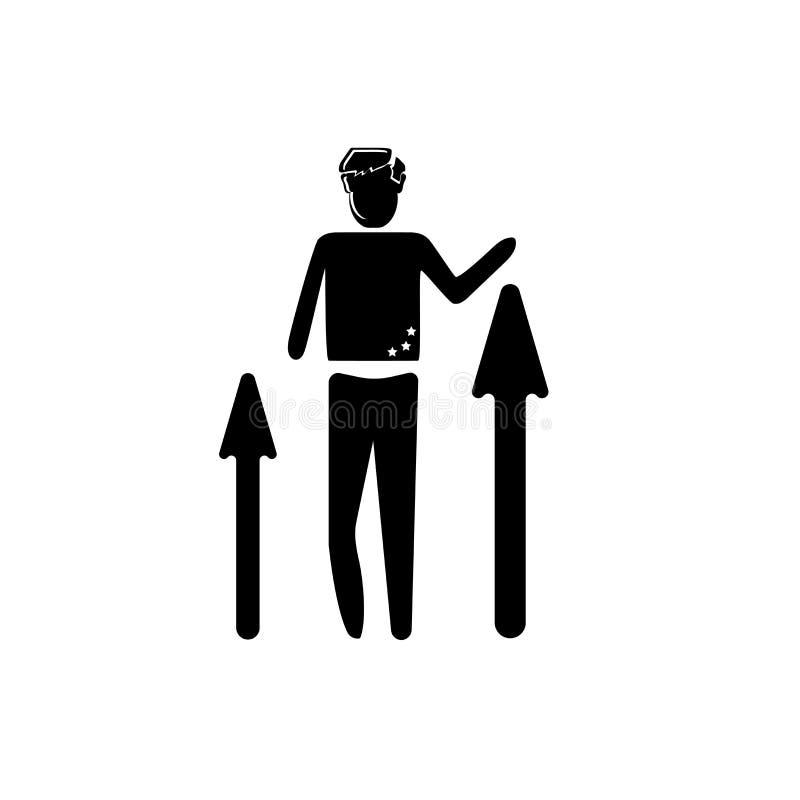 Vector del icono del éxito del trabajador aislado en el fondo blanco, muestra del éxito del trabajador, ejemplos del negocio stock de ilustración