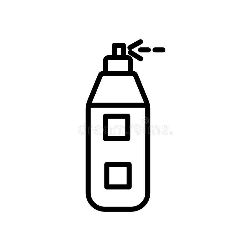 Vector del icono del aerógrafo aislado en el fondo, la muestra del aerógrafo, la línea y los elementos blancos del esquema en est stock de ilustración