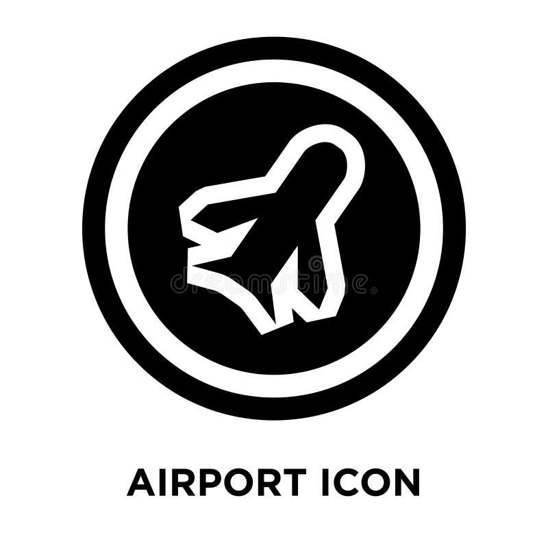 Vector del icono del aeropuerto aislado en el fondo blanco, concepto o del logotipo stock de ilustración