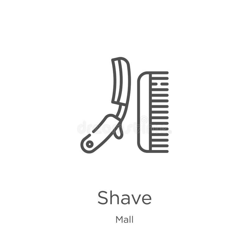 vector del icono del afeitado de la colección de la alameda Línea fina ejemplo del vector del icono del esquema del afeitado Esqu stock de ilustración