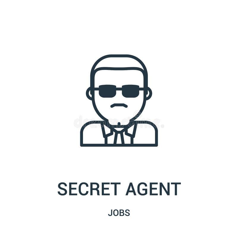 vector del icono del agente secreto de la colección de los trabajos Línea fina ejemplo del vector del icono del esquema del agent libre illustration