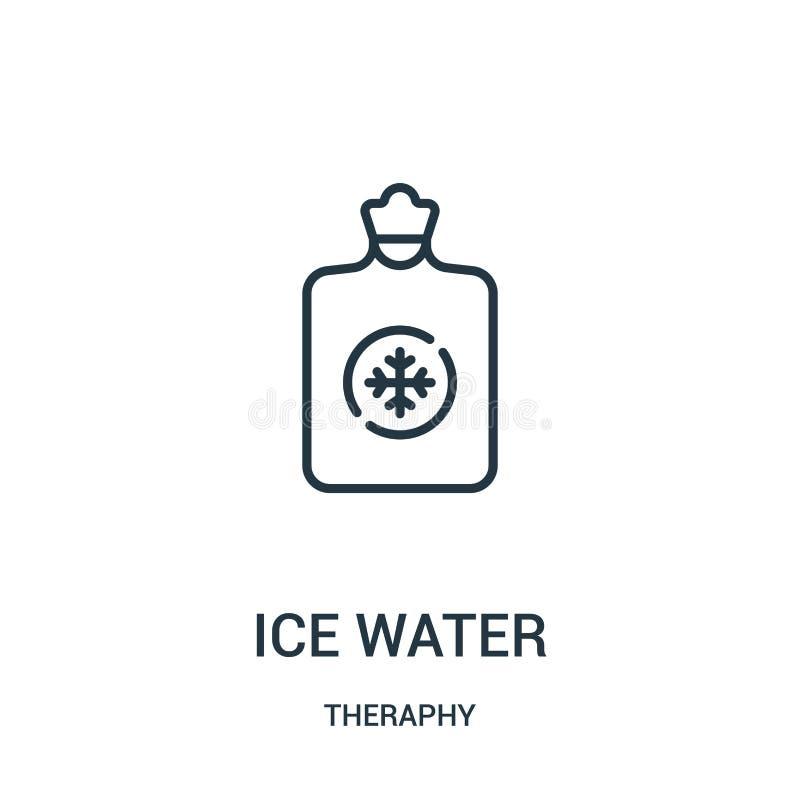 vector del icono del agua helada de la colección del theraphy Línea fina ejemplo del vector del icono del esquema del agua helada ilustración del vector