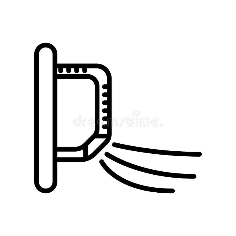 Vector del icono del aire acondicionado aislado en el fondo, la muestra del aire acondicionado, la línea y los elementos blancos  ilustración del vector