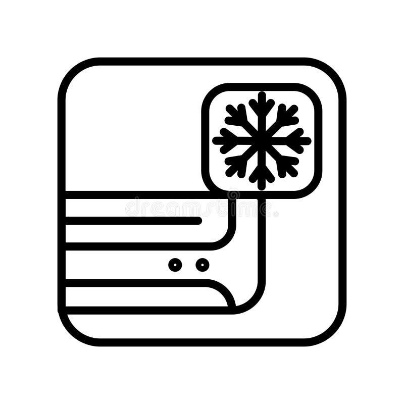 Vector del icono del aire acondicionado aislado en el fondo, la muestra del aire acondicionado, la línea y los elementos blancos  stock de ilustración