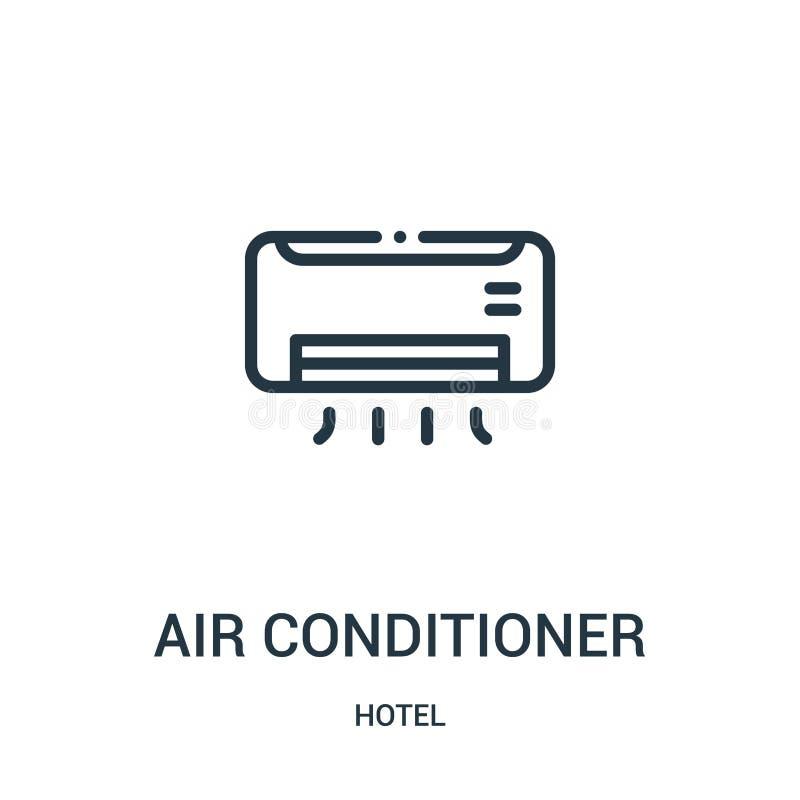 vector del icono del aire acondicionado de la colección del hotel Línea fina ejemplo del vector del icono del esquema del aire ac libre illustration