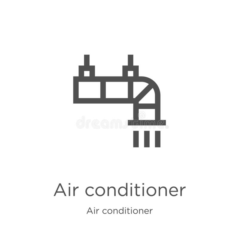 vector del icono del aire acondicionado de la colecci?n del aire acondicionado L?nea fina ejemplo del vector del icono del esquem ilustración del vector