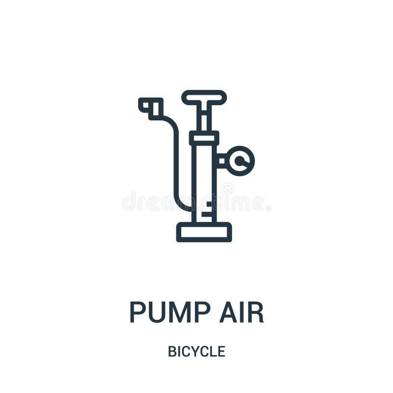 vector del icono del aire de la bomba de la colección de la bicicleta Línea fina ejemplo del vector del icono del esquema del air libre illustration