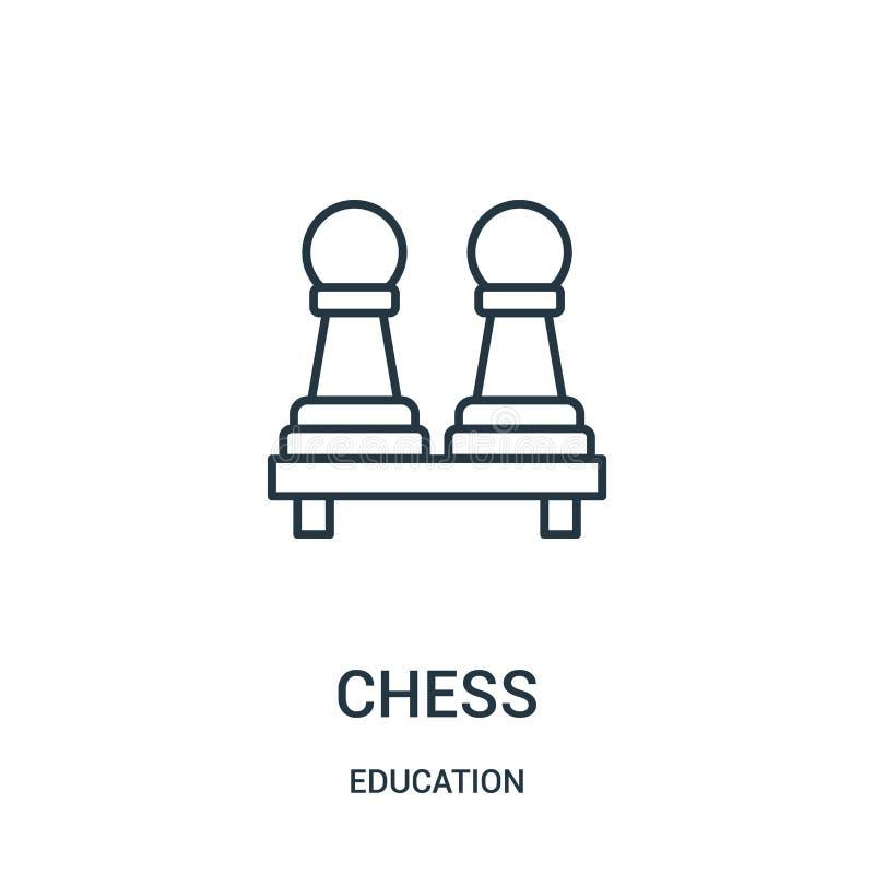 vector del icono del ajedrez de la colección de la educación L?nea fina ejemplo del vector del icono del esquema del ajedrez libre illustration