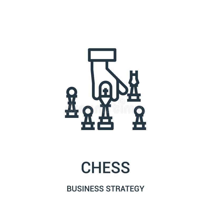 vector del icono del ajedrez de la colección de la estrategia empresarial Línea fina ejemplo del vector del icono del esquema del ilustración del vector