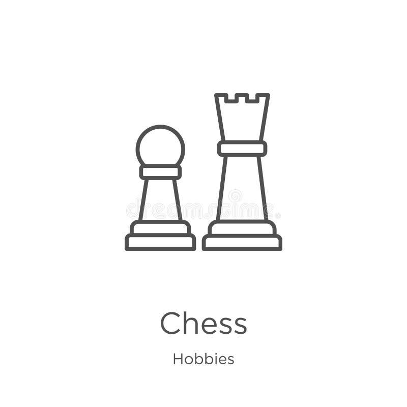 vector del icono del ajedrez de la colección de las aficiones L?nea fina ejemplo del vector del icono del esquema del ajedrez Esq stock de ilustración