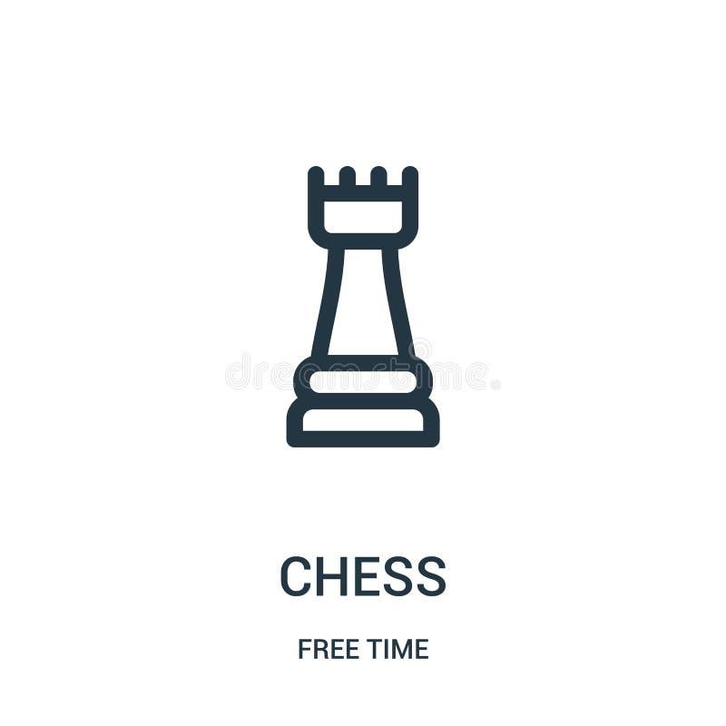 vector del icono del ajedrez de la colección del tiempo libre Línea fina ejemplo del vector del icono del esquema del ajedrez Sím stock de ilustración
